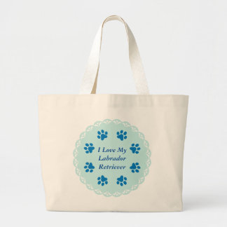 I Love My Labrabor Blue Lace 8/Blue Paw Prints #2 Jumbo Tote Bag