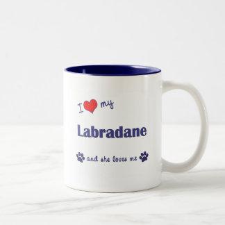 I Love My Labradane Female Dog Mugs