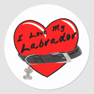 I Love My Labrador Heart with Dog Collar Stickers