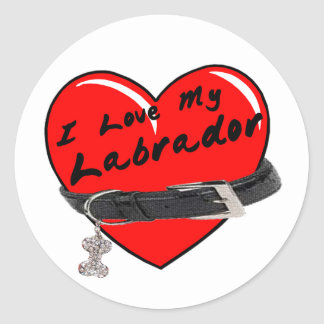 I Love My Labrador Heart with Dog Collar Round Sticker