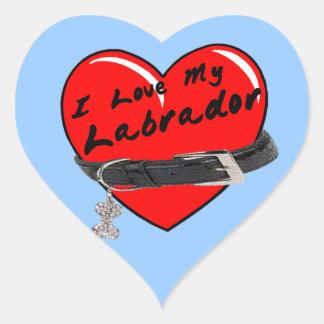 I Love My Labrador Heart with Dog Collar Sticker