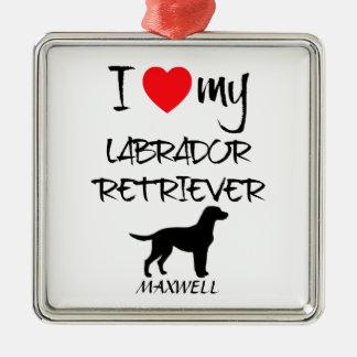 I Love My Labrador Retriever Dog Silver-Colored Square Decoration