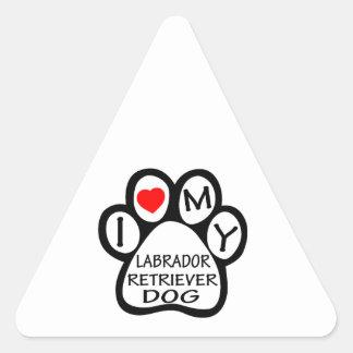 I Love My Labrador Retriever Dog Triangle Sticker
