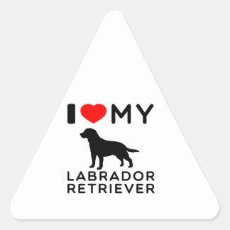 I Love My Labrador Retriever Triangle Sticker