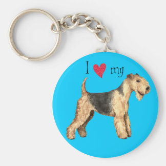 I Love my Lakeland Terrier Basic Round Button Key Ring