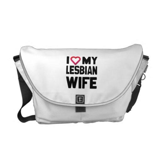 I LOVE MY LESBIAN WIFE -.png Messenger Bags