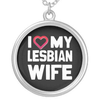 I LOVE MY LESBIAN WIFE - WHITE -.png Pendants