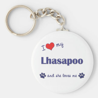 I Love My Lhasapoo (Female Dog) Basic Round Button Key Ring