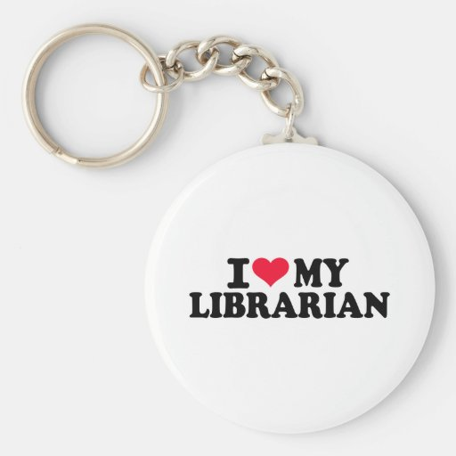 I love my Librarian Basic Round Button Key Ring