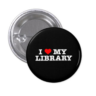 I love my library 3 cm round badge