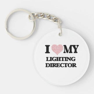 I love my Lighting Director (Heart Made from Words Single-Sided Round Acrylic Key Ring