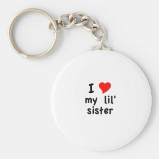 i love my lil sister basic round button key ring