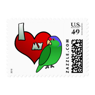 I Love my Lilac Crowned Amazon Postage Stamps