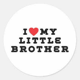 I Love My Little Brother Round Sticker