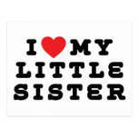 I Love My Little Sister Gift Post Cards