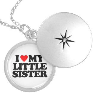 I LOVE MY LITTLE SISTER ROUND LOCKET NECKLACE