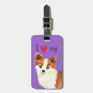 I Love my Long Coat Chihuahua Luggage Tag