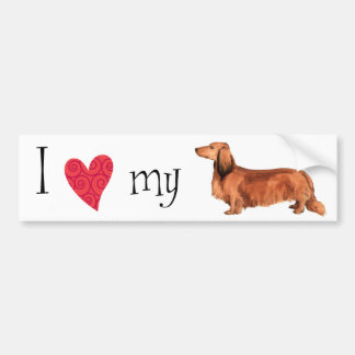 I Love my Longhaired Dachshund Bumper Sticker