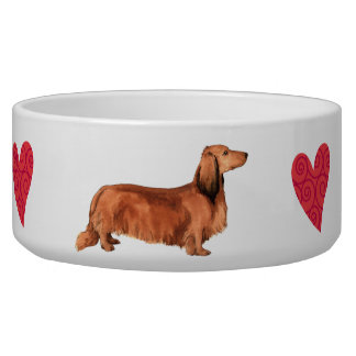 I Love my Longhaired Dachshund Dog Bowls