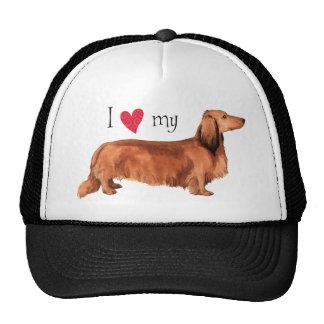 I Love my Longhaired Dachshund Mesh Hats