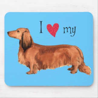 I Love my Longhaired Dachshund Mouse Pads