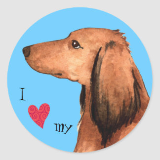 I Love my Longhaired Dachshund Classic Round Sticker