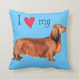 I Love my Longhaired Dachshund Throw Pillow