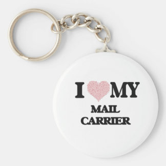 I love my Mail Carrier (Heart Made from Words) Basic Round Button Key Ring