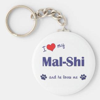 I Love My Mal-Shi (Male Dog) Key Ring