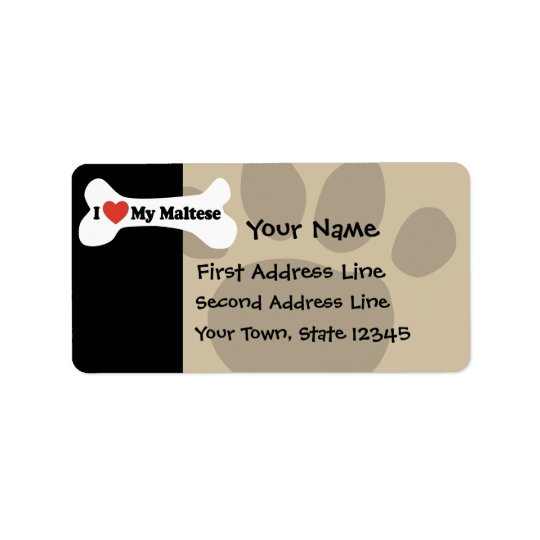 I Love My Maltese - Dog Bone Label