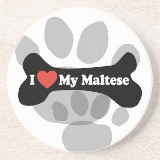 I Love My Maltese - Dog Bone Sandstone Coaster