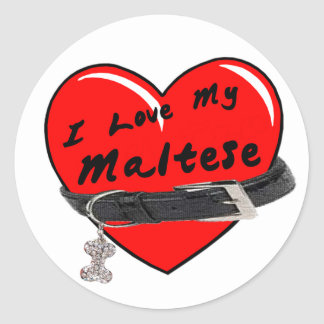I Love My Maltese Heart with Dog Collar Round Stickers