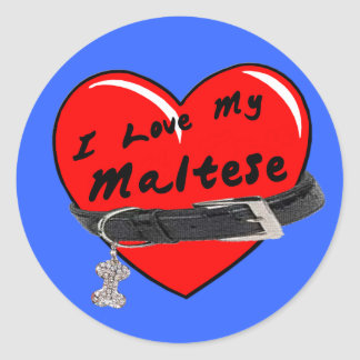 I Love My Maltese Heart with Dog Collar Stickers