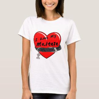 I Love My Maltese Heart with Dog Collar T-Shirt