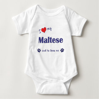 I Love My Maltese (Male Dog) Baby Bodysuit