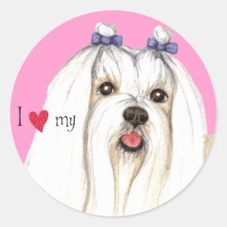 I Love my Maltese Round Sticker
