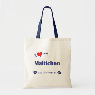 I Love My Maltichon (Female Dog) Tote Bag