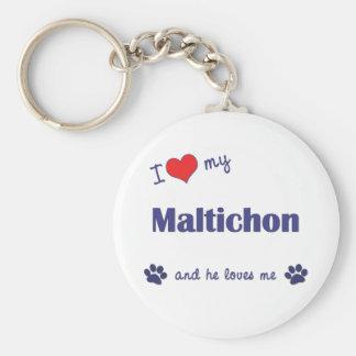 I Love My Maltichon (Male Dog) Basic Round Button Key Ring