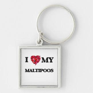 I love my Maltipoo Silver-Colored Square Key Ring
