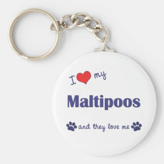 I Love My Maltipoos (Multiple Dogs) Basic Round Button Key Ring