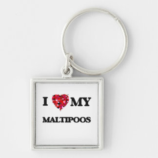 I love my Maltipoos Silver-Colored Square Key Ring