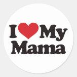 I Love My Mama Round Stickers