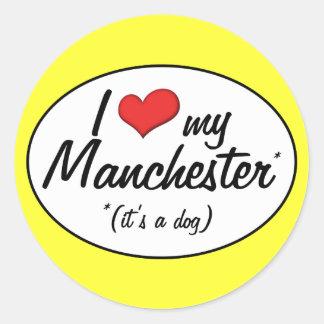 I Love My Manchester (It's a Dog) Round Sticker
