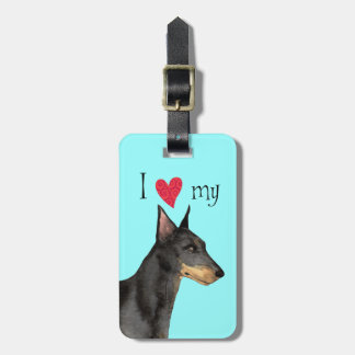 I Love my Manchester Terrier Bag Tags