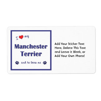 I Love My Manchester Terrier (Male Dog) Shipping Label