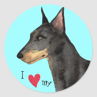 I Love my Manchester Terrier Round Sticker