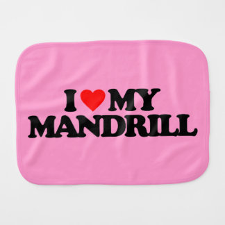 I LOVE MY MANDRILL BABY BURP CLOTHS