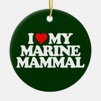 I LOVE MY MARINE MAMMAL ROUND CERAMIC DECORATION