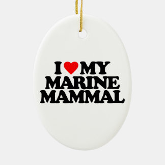 I LOVE MY MARINE MAMMAL Double-Sided OVAL CERAMIC CHRISTMAS ORNAMENT