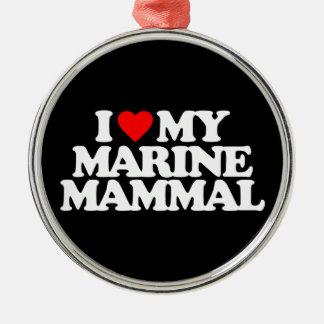 I LOVE MY MARINE MAMMAL CHRISTMAS ORNAMENT